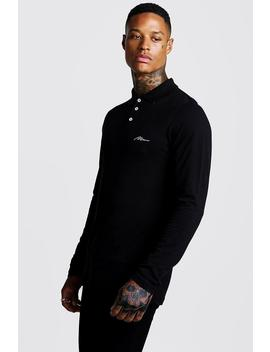 Man Signature Long Sleeve Pique Polo by Boohoo