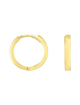 14 K Yellow Gold Polished 12mm Huggie Hoop Earrings by Sphera Milano