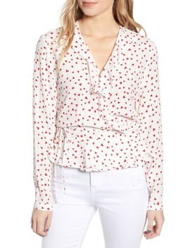 Simone Print Ruffle Wrap Blouse by Rails
