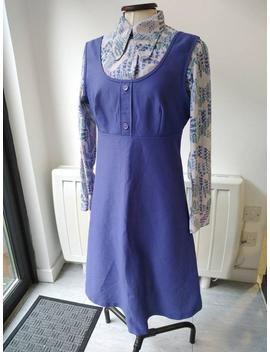 Vintage 70s Purple Lilac Crimpiline Pinafore Dress by Etsy