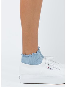 Ribbed Ruffle Socks Baby Blue by Princess Polly