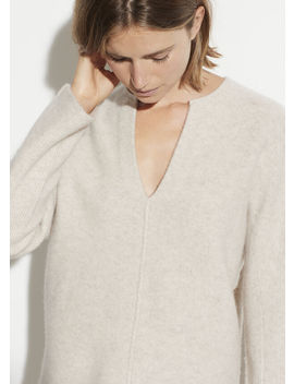Felted Cashmere Split Neck Sweater by Vince
