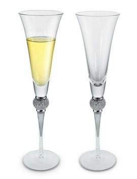 Kovot Elegant Champagne Toasting Flutes With Silver Accents   Set Of 2 by Kovot