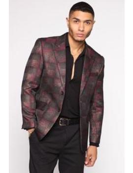 Russell Checkered Blazer   Burgundy/Combo by Fashion Nova