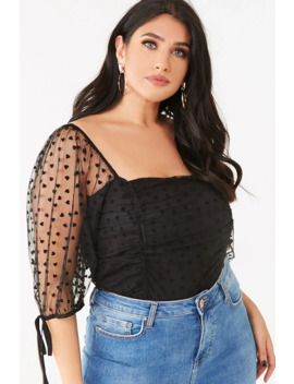 Plus Size Mesh Ruched Top by Forever 21
