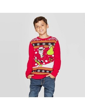 Well Worn Boys' Skater Santa Ugly Christmas Sweater   Red by Well Worn