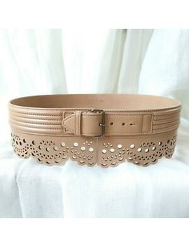 Alaia Beige Laser Cut Out Scallop Waist Wide Leather Eyelet Corset Belt New 75 by Alaia