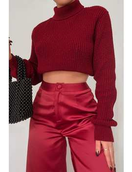 Fashion Influx Wine Rib Roll Neck Crop Jumper by In The Style