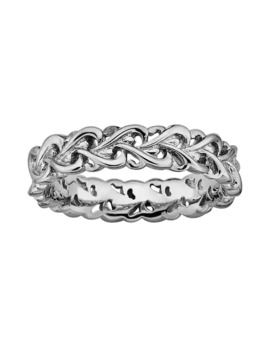 Stacks & Stones Sterling Silver Intertwined Heart Stack Ring by Stacks & Stones
