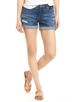 7 For All Mankind(R) Roll Cuff Denim Shorts (Broken Twill Vanity Destroy) by 7 For All Mankind