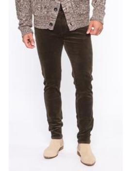 Corduroy Skinny Pants   Olive by Fashion Nova