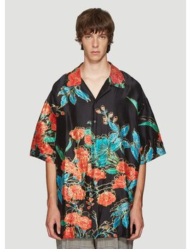 Oversized Floral Bowling Shirt In Black by Gucci