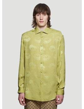 Oversized Poppies Silk Shirt In Green by Gucci