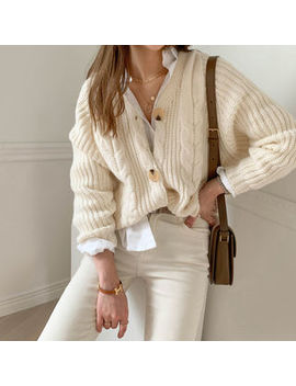 Naning9   Colored Cable Knit Cardigan by Naning9