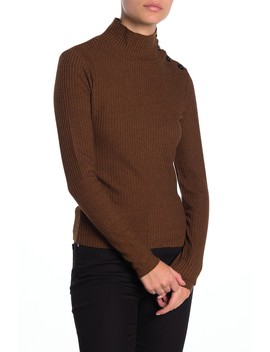 Buttoned Mock Neck Long Sleeve Shirt (Petite) by Sanctuary
