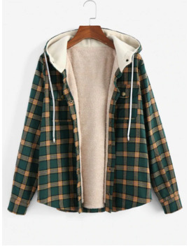 Hot Zaful Plaid Hooded Fluffy Lined Snap Button Jacket   Multi S by Zaful
