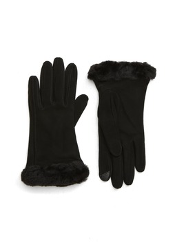 Genuine Shearling Trim Suede Tech Gloves by Ugg