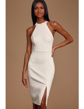 Can't Touch This White Halter Bodycon Midi Dress by Lulus