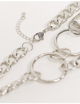 Asos Design – Silberne Metall Halskette Mit Offenem Anhänger by Asos