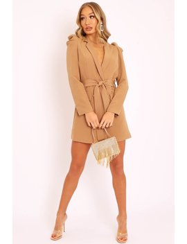 Camel Puff Sleeve Belted Waist Blazer Dress   Daionna by Rebellious Fashion