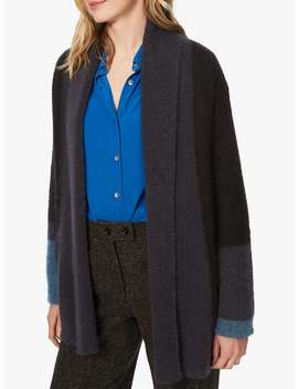 Brora Mohair Colour Block Cardigan, Black/Raven by Brora