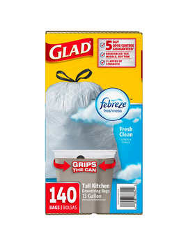 Glad With Febreze Freshness 13 Gallon Tall Kitchen Trash Bag, Fresh Clean, 140 Count by Glad