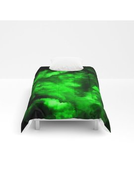 Envy   Abstract In Black And Neon Green Comforters by Society6