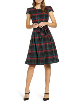 X Hi Sugarplum! Holiday Joyeux Cap Sleeve Fit & Flare Dress by Gibson