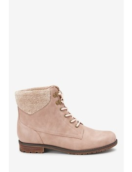 Forever Comfort® Collar Detail Lace Up Boots by Next