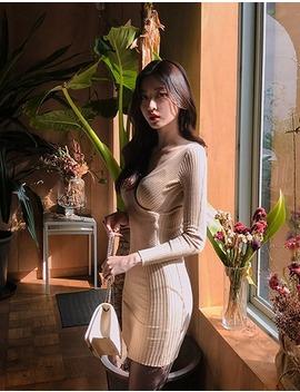[Chuu] Ribbed Knit Wrap Dress by Chuu