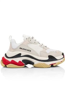 Triple S Sneaker Tricolor Sole White/ Red/ Black by Balenciaga