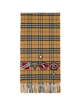 Tan Vintage Check Cashmere Badge Scarf by Burberry