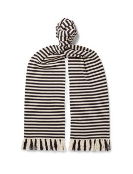Tasselled Striped Merino Wool Scarf by Dries Van Noten