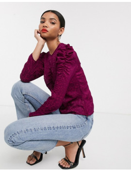 & Other Stories Jacquard Leopard Burnout Blouse In Purple by & Other Stories