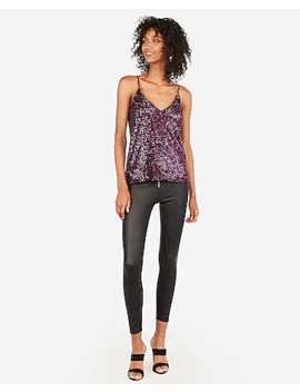Sequin V Neck Cami by Express