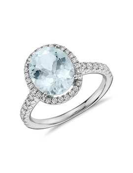 Anillo De Diamantes Y Aguamarina  En Oro Blanco De 18 K (10x8Mm) by Blue Nile