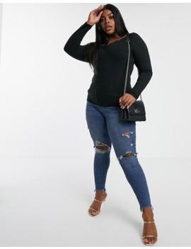 Vero Moda Curve V Neck T Shirt With Lace Trim In Black by Vero Moda
