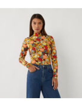 Mia Floral Funnel Neck Top by Warehouse
