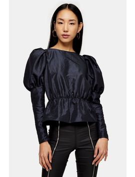Grey Long Sleeve Puff Taffeta Blouse by Topshop