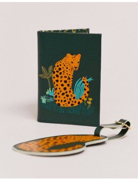 Sass & Belle Leopard Luggage Tag And Passport Cover Set by Sass & Belle