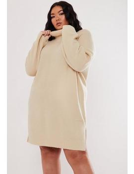 Plus Size Stone High Neck Jumper Dress by Missguided