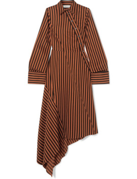 Asymmetric Paneled Striped Cotton Dress by Marques' Almeida