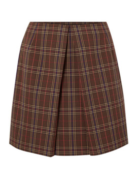 Pleated Checked Woven Mini Skirt by Mm6 Maison Margiela