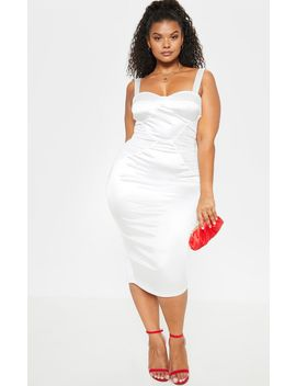 Plus White Satin Ruched Mesh Side Bodycon Dress by Prettylittlething