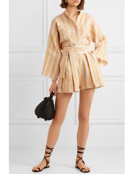 Jola Metallic Striped Linen Blend Voile Shorts by Three Graces London