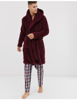 Asos Design Lounge Fleece Dressing Gown In Burgundy by Asos Design