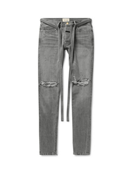 Straight Leg Tapered Belted Distressed Selvedge Denim Jeans by Fear Of God
