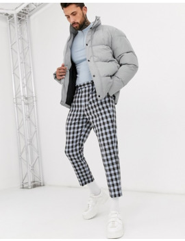 Asos Design Tapered Crop Smart Trousers In Blue Check by Asos Design