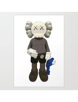Watercolor Kaws With Cookie Monster Art Print by Society6