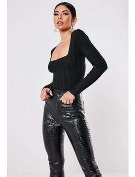 Petite Black Extreme Rib Square Neck Bodysuit by Missguided